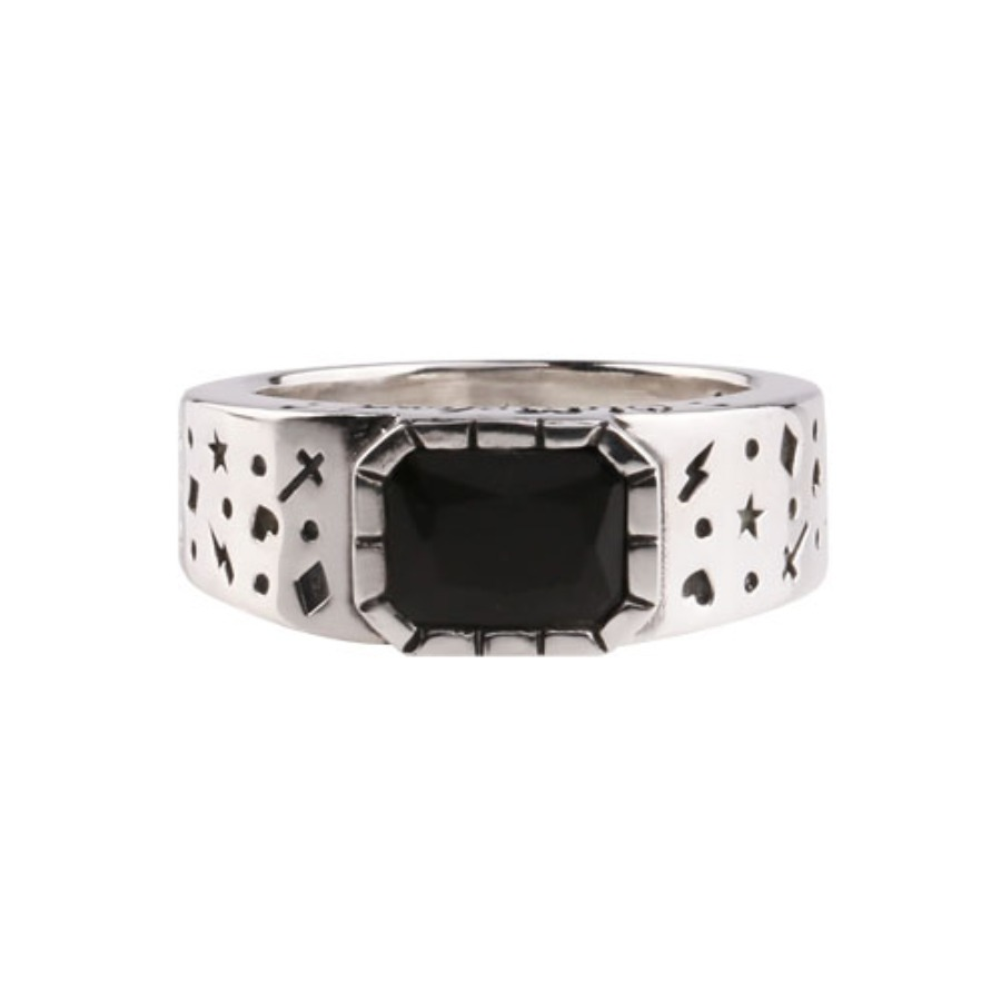 Oldschool Dot Ring 2 -onyx