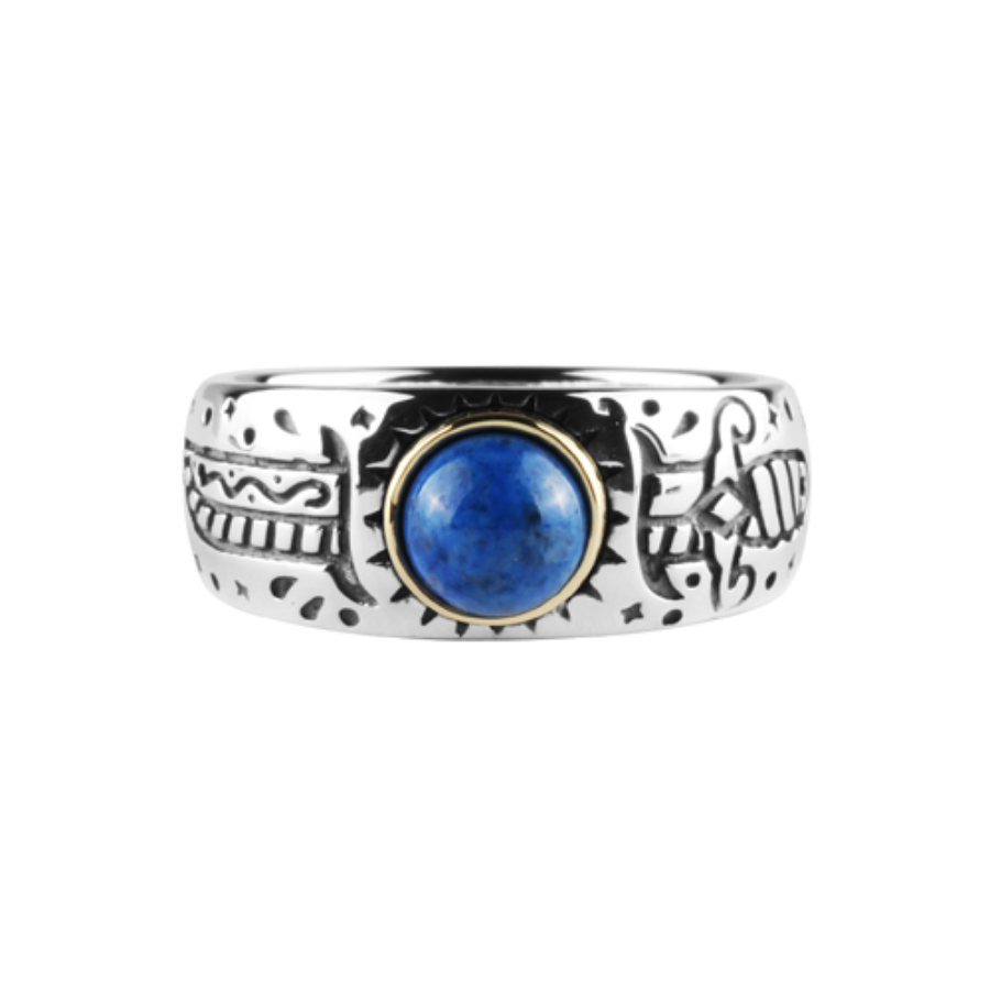 Oldschool Dagger Stone Ring -Blue