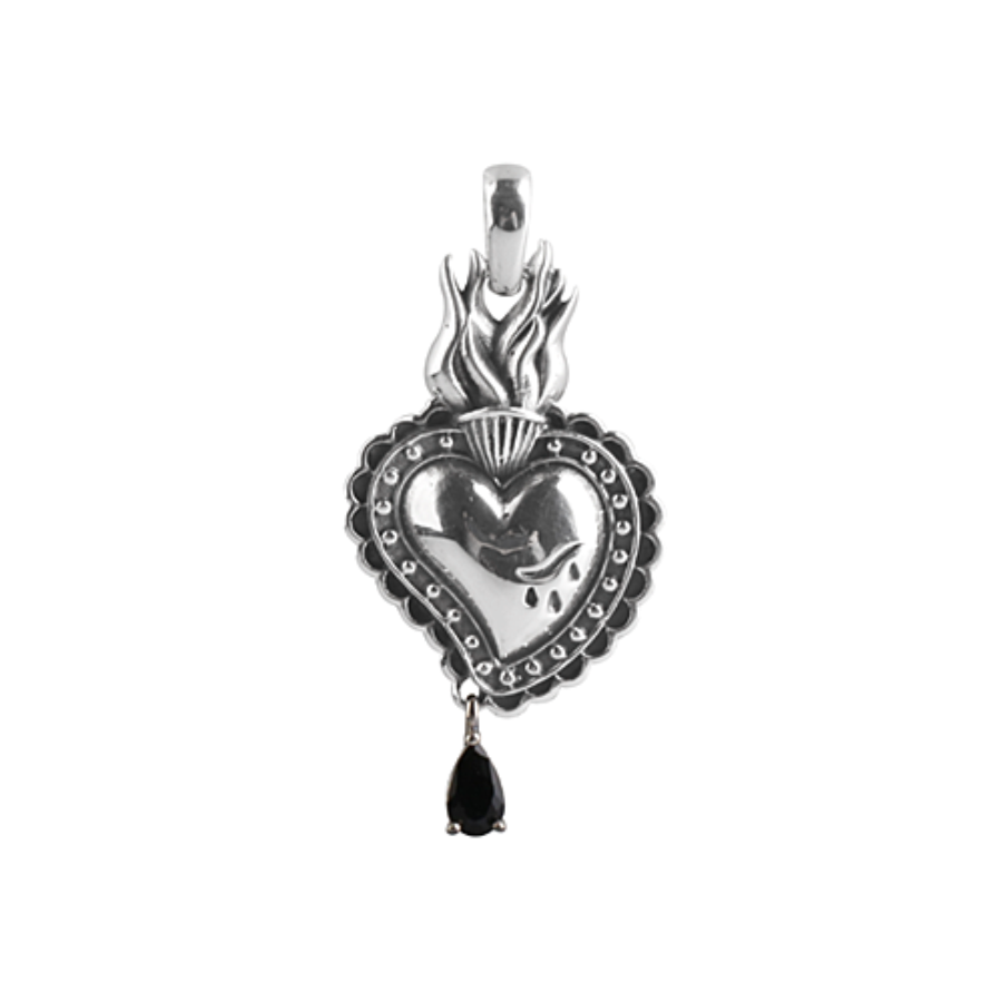 [MAXXIXI] Sacred heart black blood pendant